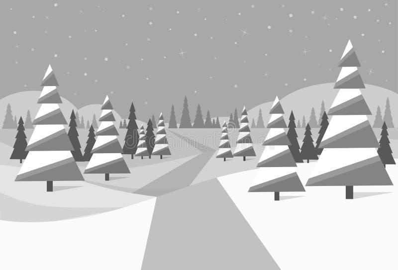 Winter forest landscape Christmas black and white stock illustration