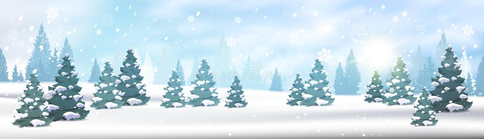 Winter Forest Landscape Horizontal Banner Pine Trees Falling Snow White View Blue Sky Christmas Concept. Flat Vector Illustration stock illustration