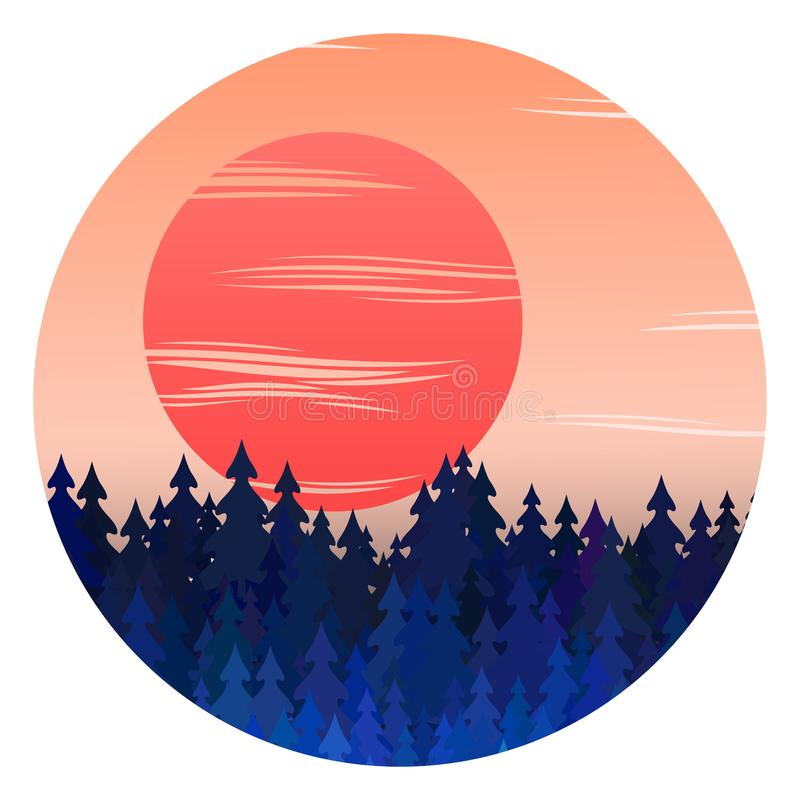Winter forest panorama with sunset and christmas trees vector landscape illustration. Winter scene background design with sun, fir trees, spruce silhouettes royalty free illustration