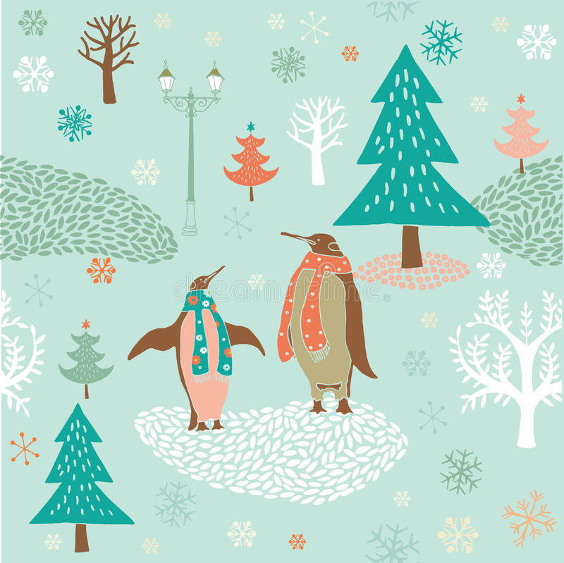 Winter forest and penguins stock illustration