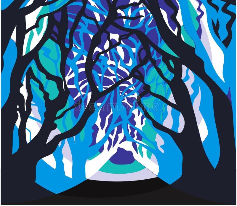 Winter Forest scenario. Frozen snow royalty free illustration