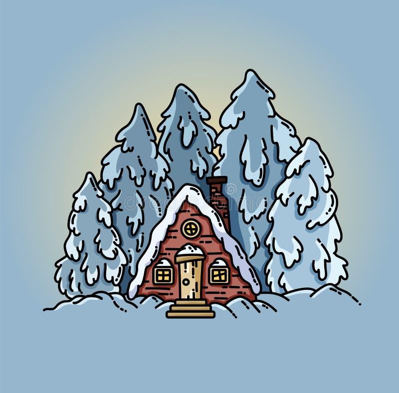 Winter forest scene cabin log flat illustration stock illustration