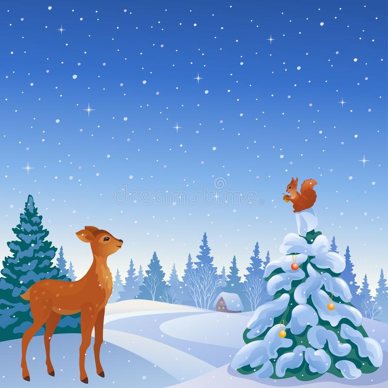 Winter forest scene vector illustration