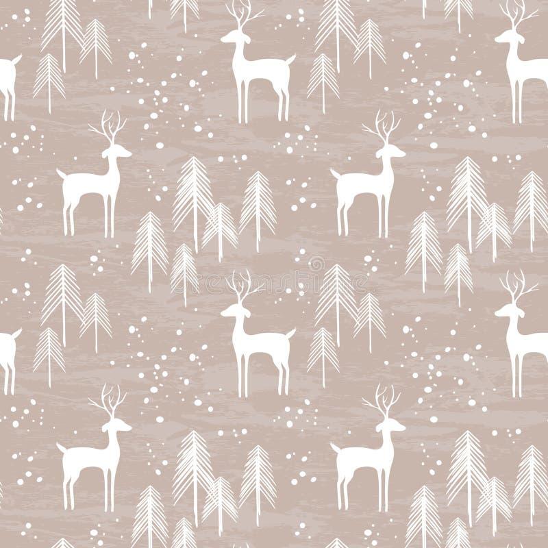 Winter forest seamless pattern vector illustration