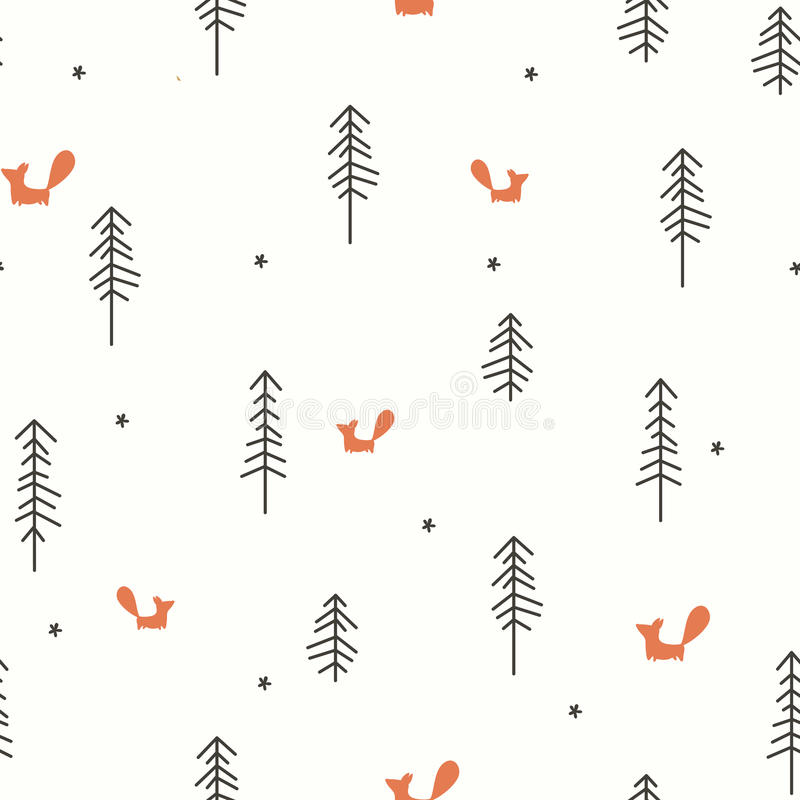 Winter Forest Seamless Pattern. Vector illustration of a Winter Forest Seamless Pattern royalty free illustration