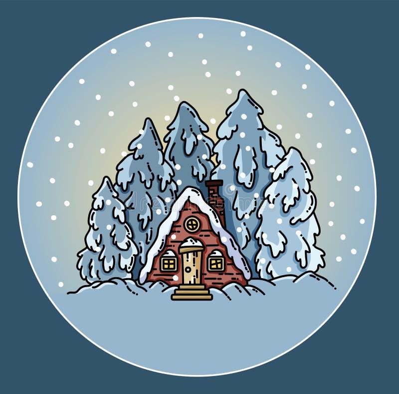 Winter forest snowing scene cabin log illustration. Vector flat style stock illustration