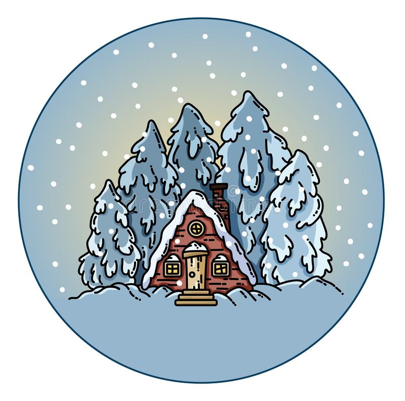 Winter forest snowing scene in a circle ball. Vector flat illustration stock illustration