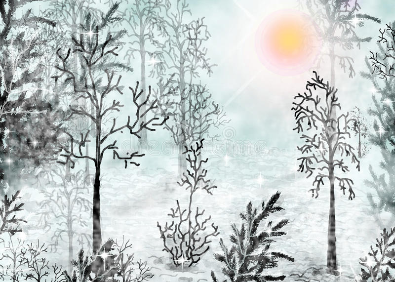 Winter forest. Sunny day in the winter forest vector illustration