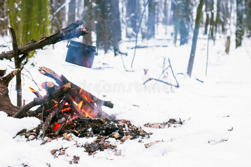 Winter forest, the tourist warm tea in a pot. Snow stock photography