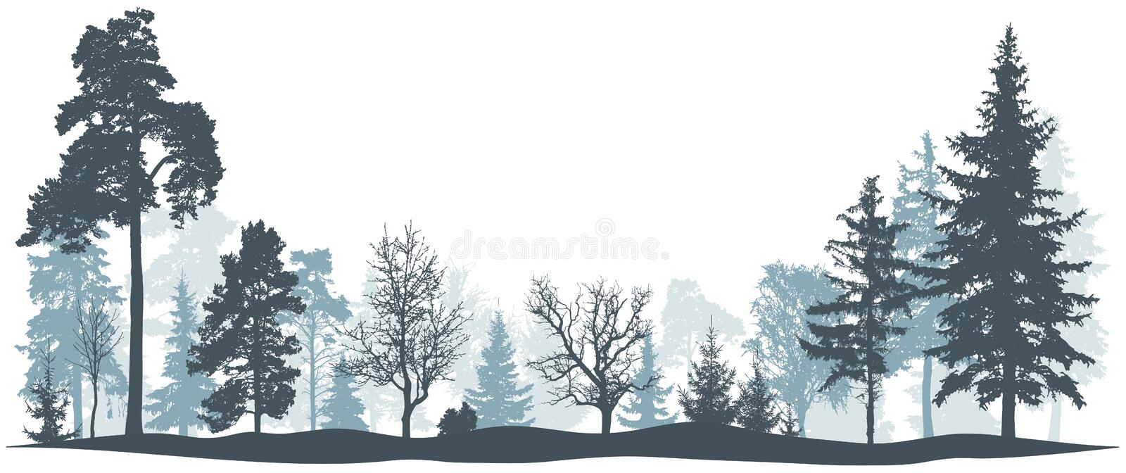 Winter forest vector illustration. Isolated trees silhouette stock images