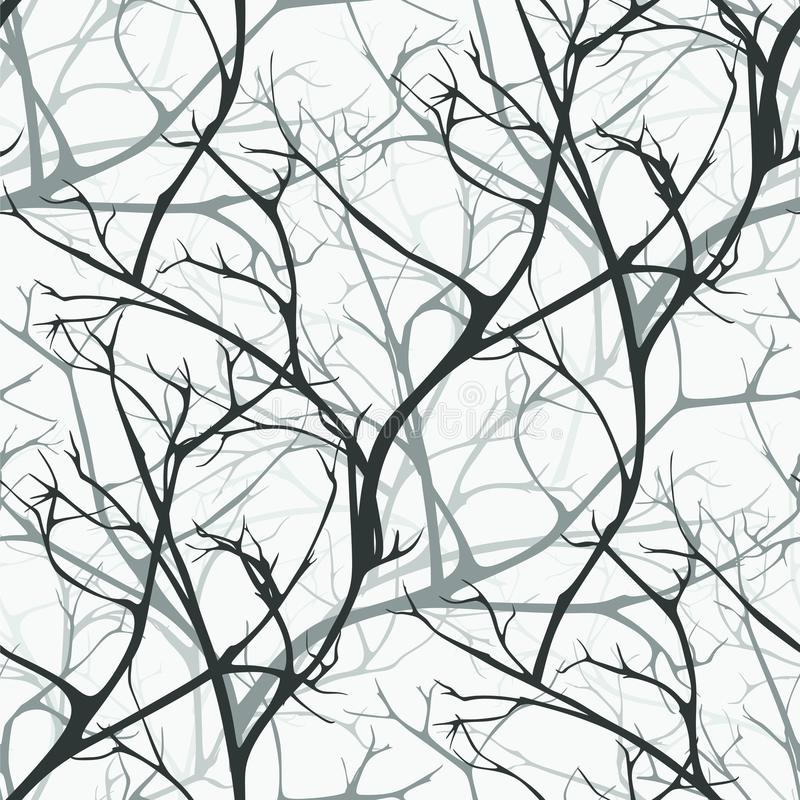 Winter forest vector seamless pattern of branches texture wood background stock illustration