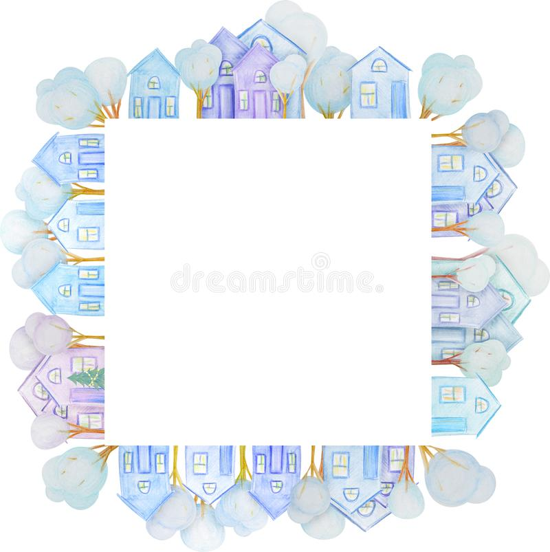 Winter frame of houses drawn with colored watercolor pencils. For the design of children and cute. New Year, Christmas and Holidays royalty free illustration
