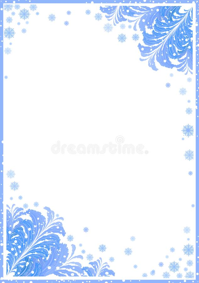 Winter frame with ice patterns vector illustration