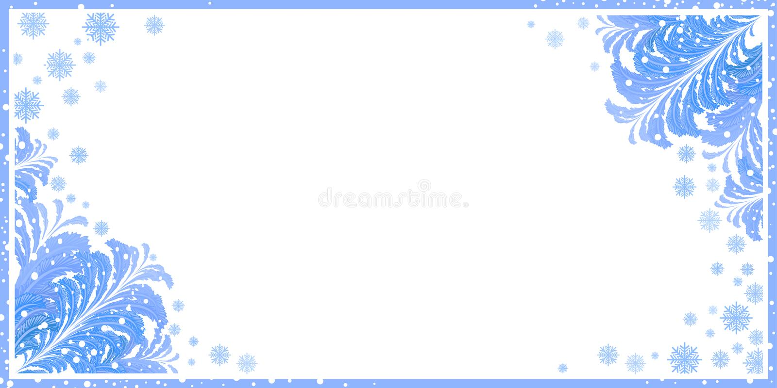 Winter frame with ice patterns stock illustration