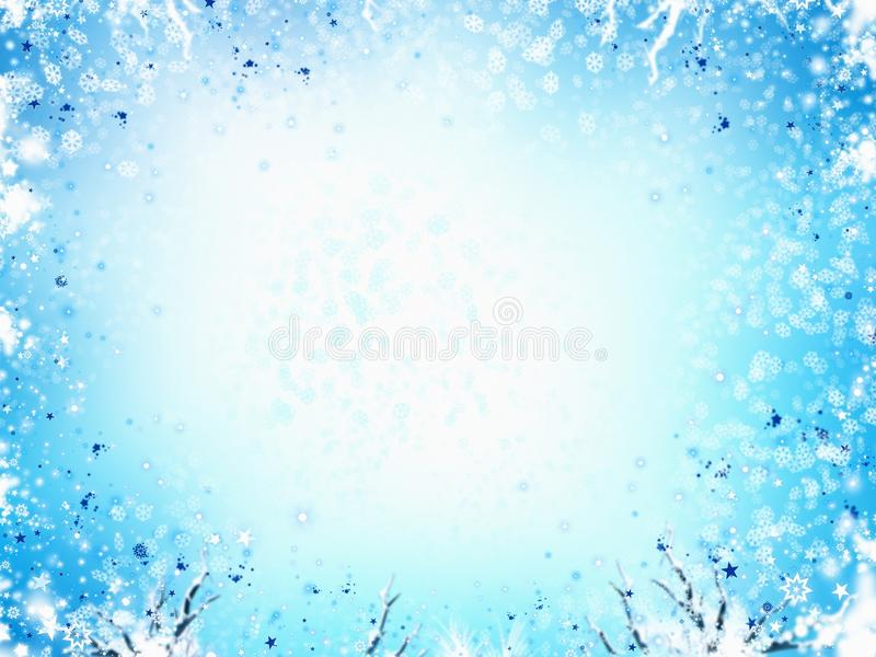 Winter Frame Light Blue Background, With Stars And Snowflakes Stock Photos