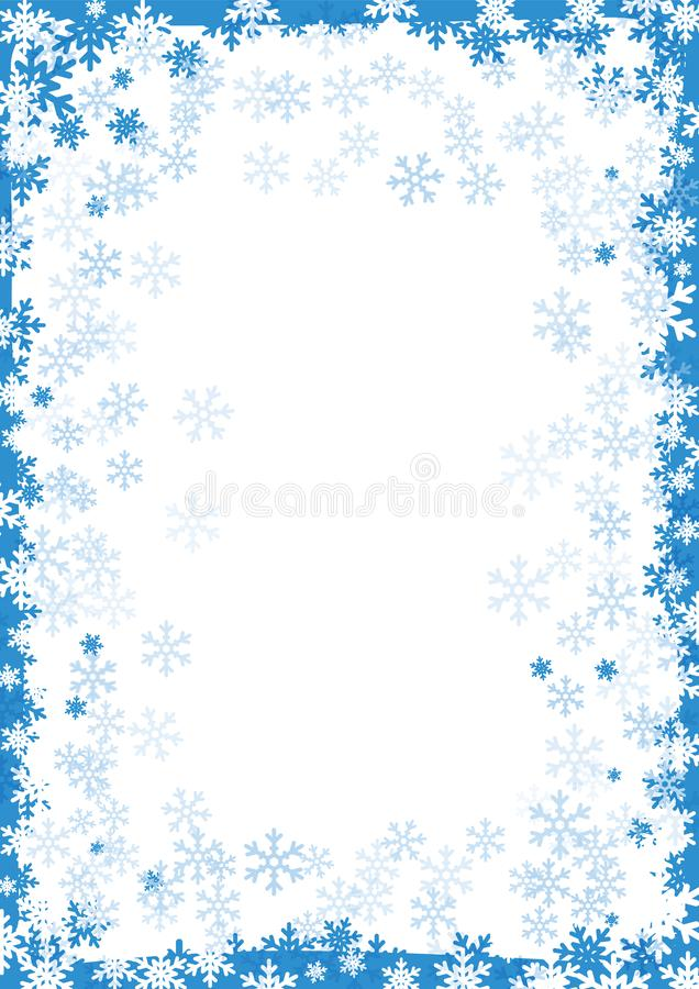 Winter frame, snow border with snowflakes on white background. Snow abstract background for Christmas and New year. royalty free illustration