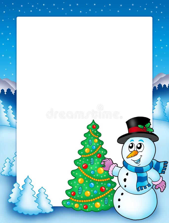 Download Winter Frame With Snowman And Tree Stock Illustration - Illustration: 11478129