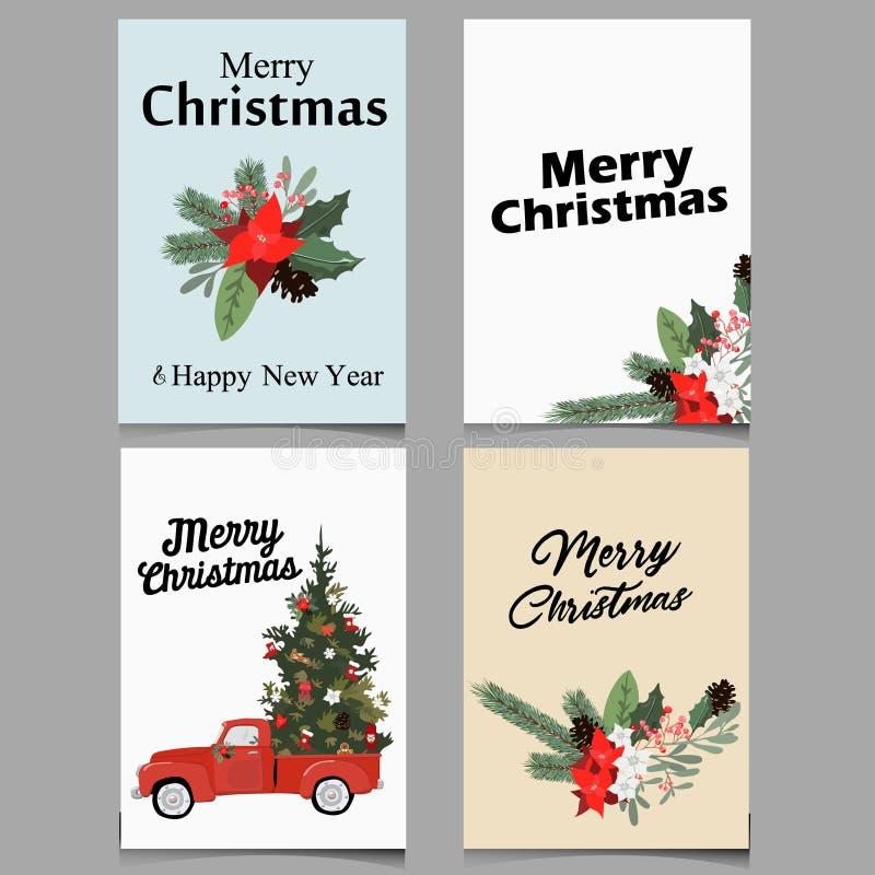 Winter-frohe Weihnachten Holly Leaf Greeting Card im Vektor Retro- mit Blumenhintergrund Design-Schablone für Ferienzeit-Feier stockfotografie