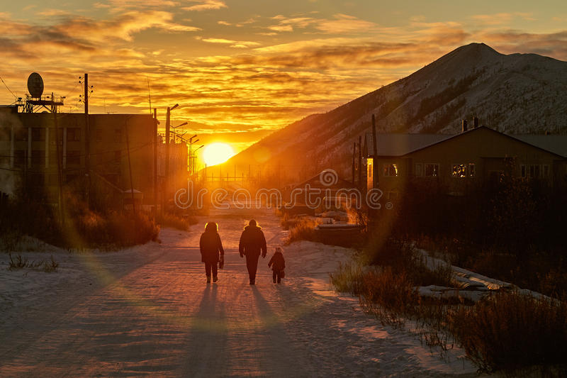 Download Winter. A Frost. The Family Goes On A Decline Stock Image - Image of decline, snow: 66626187
