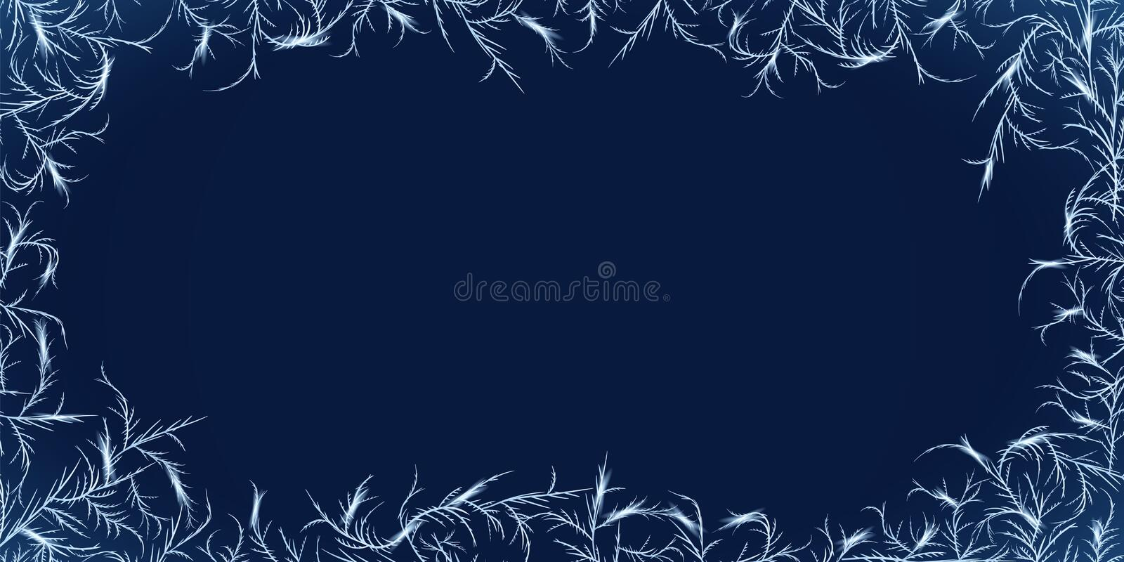 Winter frost ornament frame. Frozen glass with tangled ice crystals texture royalty free illustration