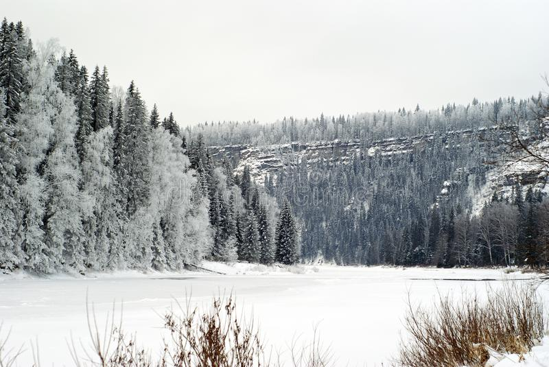 Winter frozen river with cliffs on a wooded shore stock images