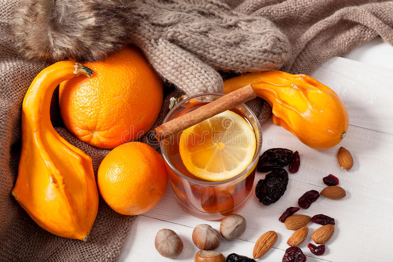 Winter fruits and drink stock images