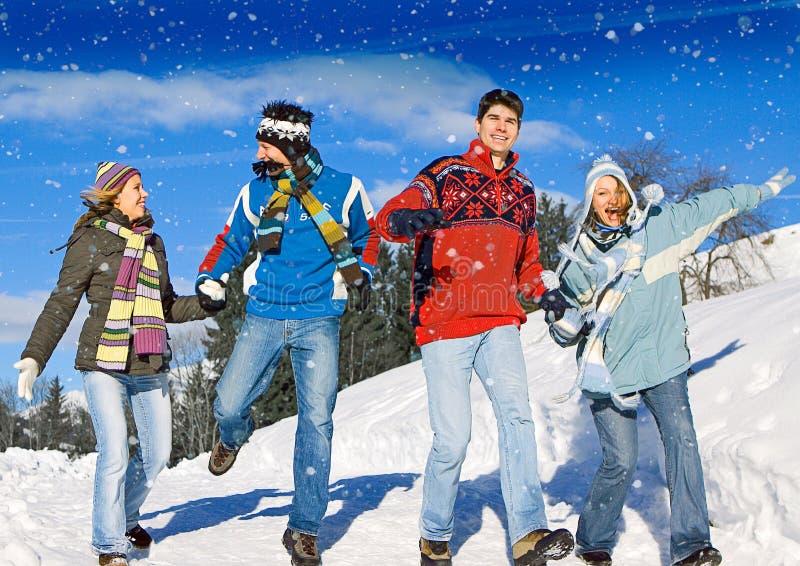 Winter fun 12. Friends having fun in winter royalty free stock image