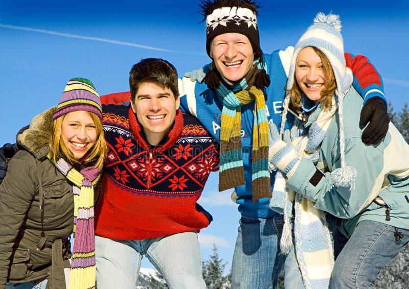 Winter fun 14. Friends having fun in winter royalty free stock photos