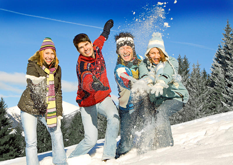 Winter fun 16. Friends having fun in winter stock image