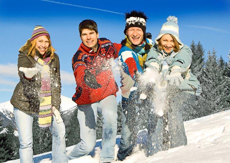 Winter fun 17. Friends having fun in winter stock images