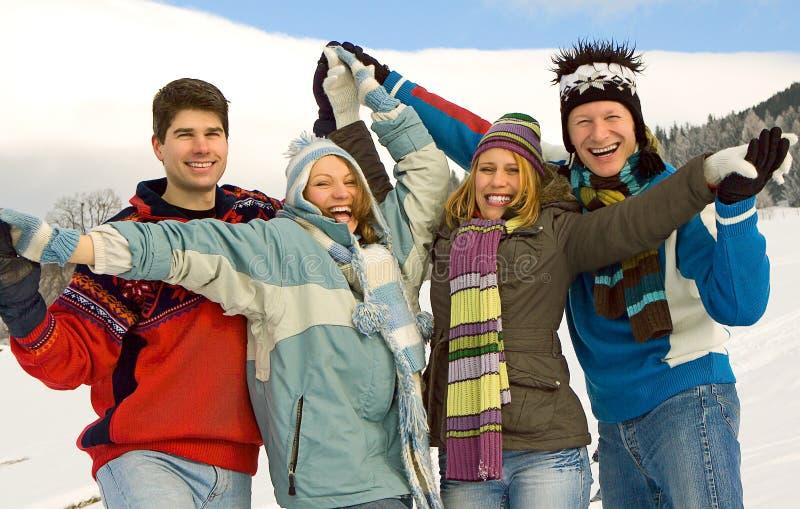 Winter fun 19. Friends having fun in winter royalty free stock photography