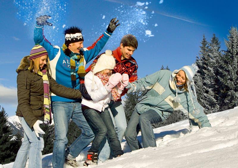 Winter fun 20. Friends having fun in winter stock photo