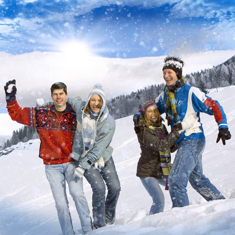 Winter fun 21. Friends having fun in winter royalty free stock photography