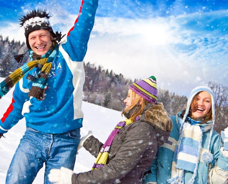 Winter fun 25. Cute family having fun in the snow royalty free stock photos