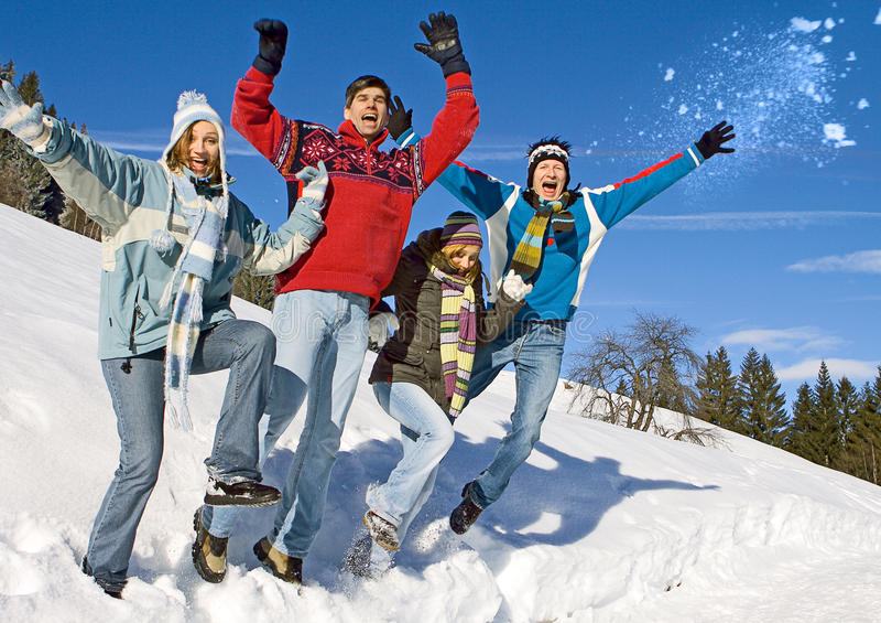 Winter fun 8. Friends having fun in winter stock image