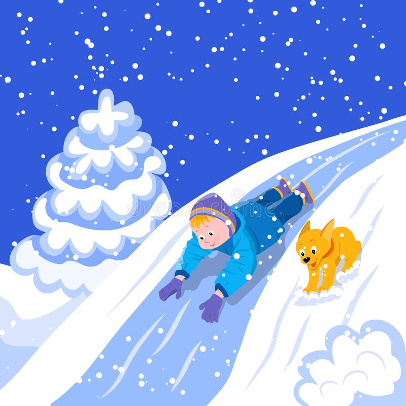 Winter fun. Boy and puppy ride down the hill royalty free stock photography
