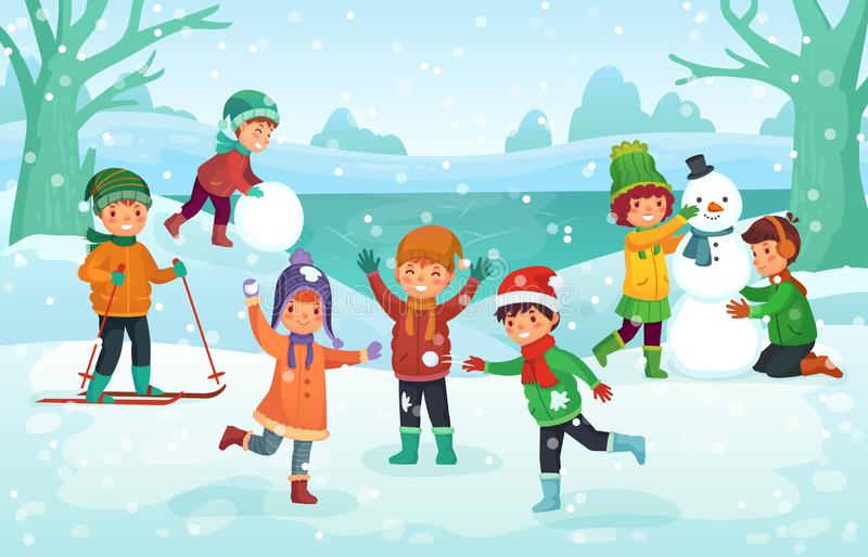 Winter fun for kids. Happy cute children playing outdoors in winters hats. Christmas winter holiday cartoon vector vector illustration