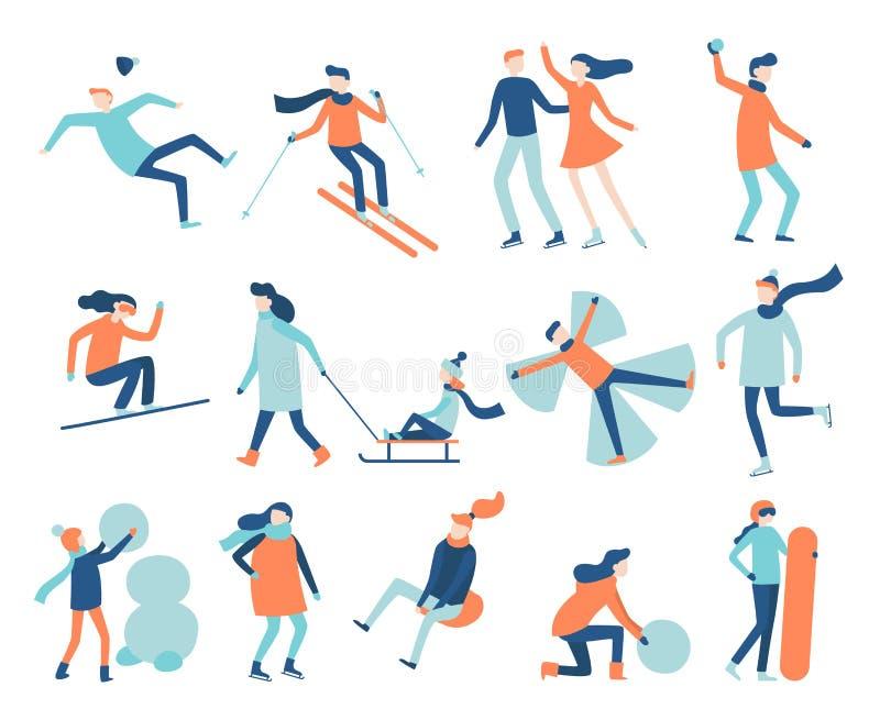 Winter fun people. Snow festival games, sledding and snowboard. Christmas family ski skating scenes vector set vector illustration