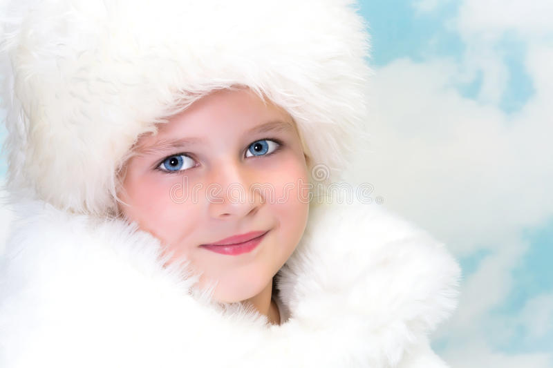 Winter fur girl stock photography