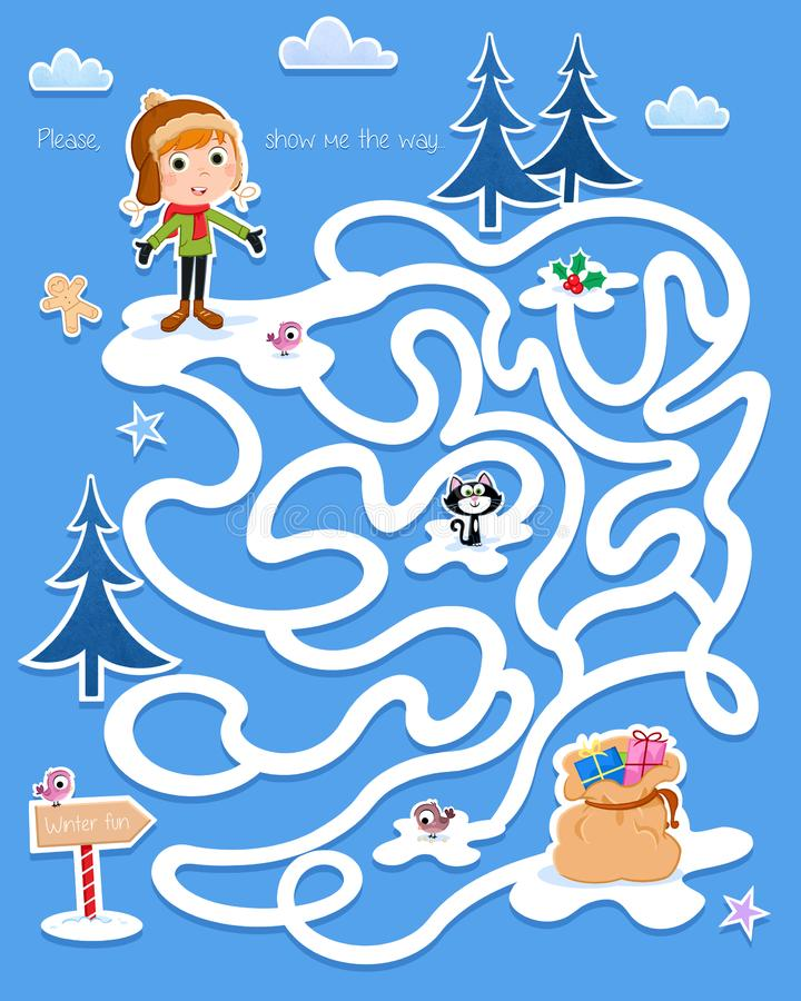 Winter game - Funny maze for preschool children - Little boy and gifts royalty free illustration