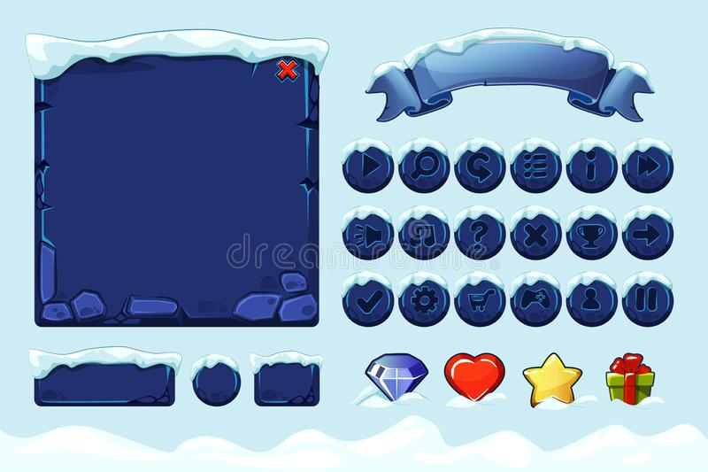 Winter game ui stones buttons with snow. Vector set stone assets, Interface, icons and buttons For Ui Game. Isolated object on separate layers stock illustration