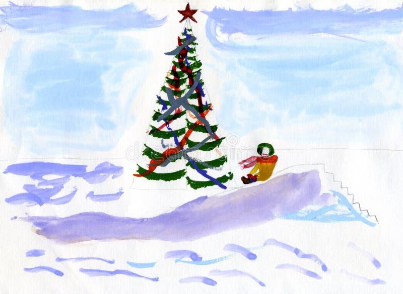 Winter Games - Hand Drawn Kid S Illustration Stock Image