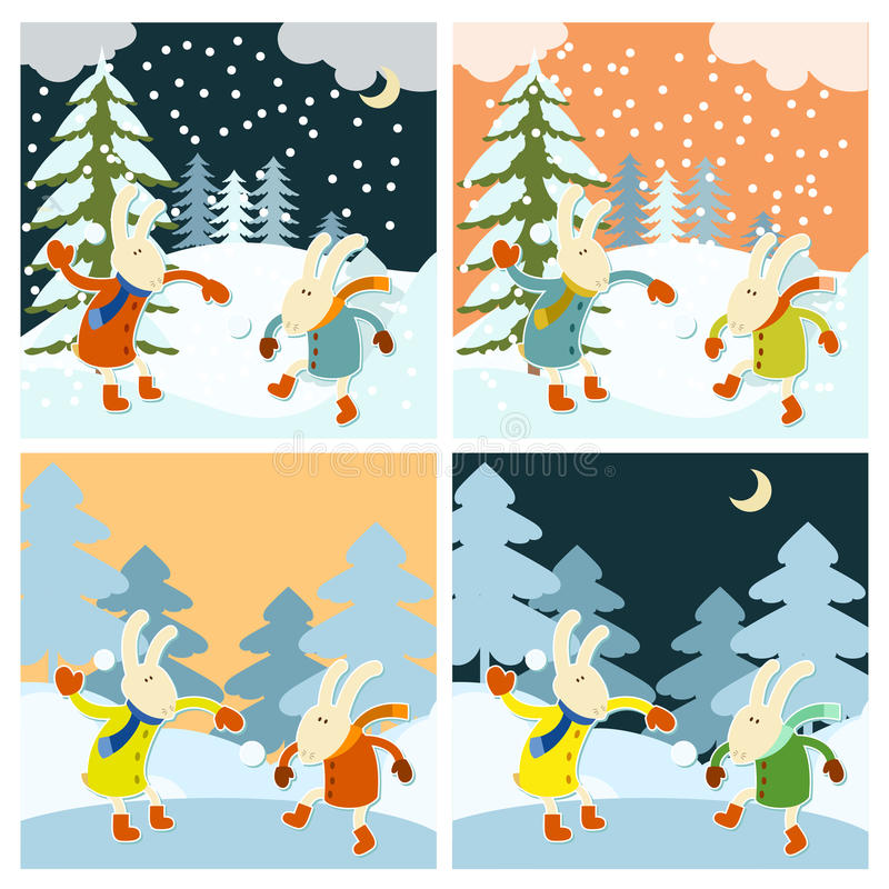 Winter games of hares vector illustration