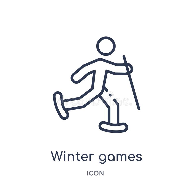 Winter games icon from olympic games outline collection. Thin line winter games icon isolated on white background. Icon stock illustration