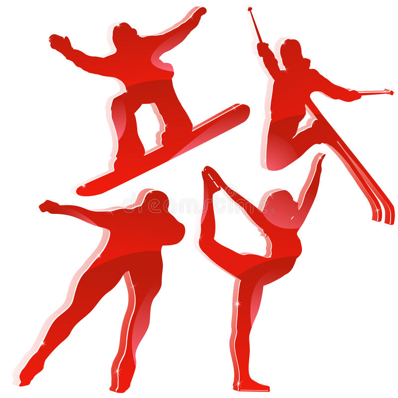 Winter Games Silhouettes In Red Stock Image