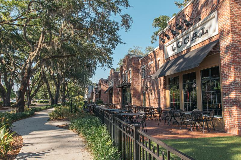 WINTER GARDEN, FLORIDA: MAY 29, 2019 - Plant Street Market a brick building featuring local dining, craft beer, and outside. WINTER GARDEN, FLORIDA: MAY 29, 2019 royalty free stock photo