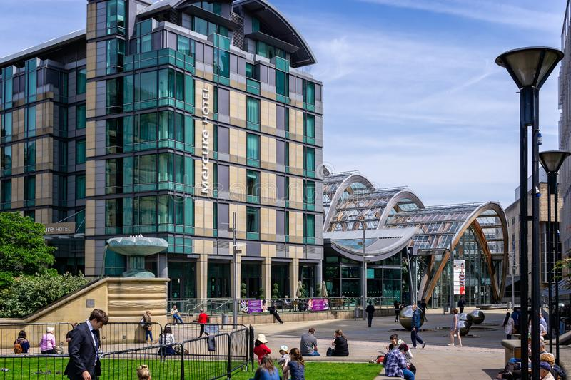 Winter Gardens and Mercure Hotel in Sheffield. Winter Gardens and Mercure Hotel taken in Sheffield, Yorkshire, UK on 18 May 2018 stock photos