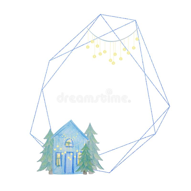 Winter geometric frame of hous drawn with colored watercolor pencils. Winter geometric frame of houses drawn with colored watercolor pencils. For the design of stock illustration