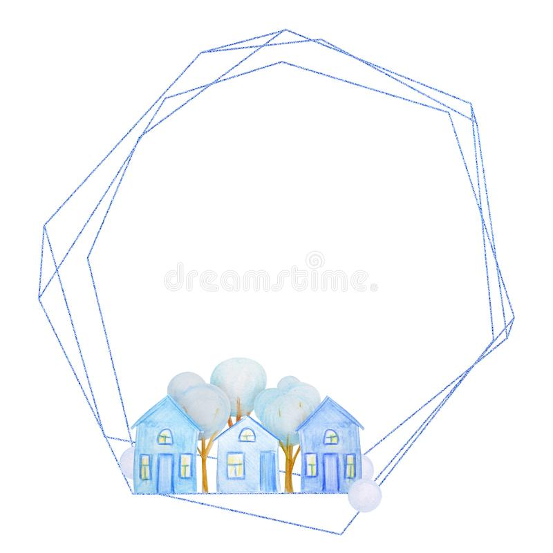 Winter geometric frame of houses drawn with colored watercolor pencils. For the design of children and cute. New Year, Christmas and Holidays royalty free illustration