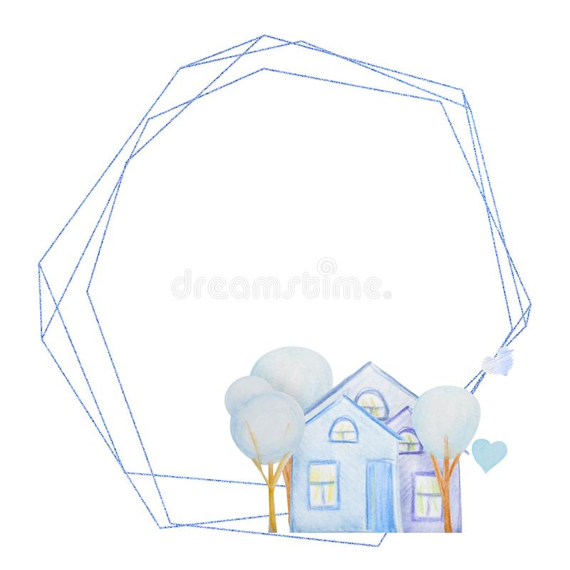 Winter geometric frame of houses drawn with colored watercolor pencils. For the design of children and cute. New Year, Christmas and Holidays vector illustration